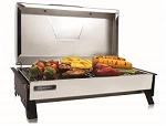 Barbeque Grill Electric 145 Square Inch Grilling Surface Rectangular Black/ Silver Steel