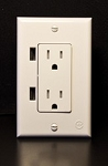 White Duo USB Decorator RV Wall Outlet
