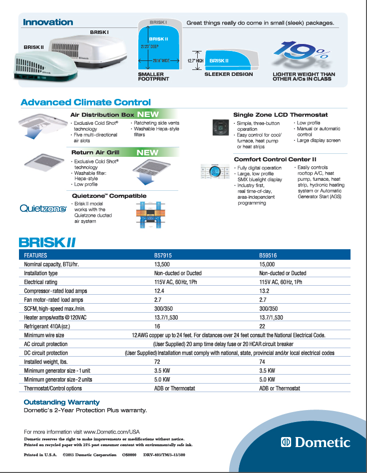 Dometic Duo Therm BRISK 2 AIR RV Air Conditioner 15000 BTU