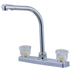 rv kitchen faucet with high spout 8 quot satin nickel