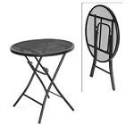 Prime Products Table 24 Inch Diameter x 26 Inch Height Bistro Table Folding Black Steel