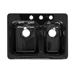 Lyons Black Sink Double Bowl