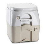 Dometic 975 Portable Toilets 5 Gallon Tan W/Stainless Hold Downs
