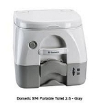 Dometic Portable Toilet 974 - 2.6 Gal. W/Hold Downs & MSD Fittings-Gray