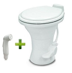 Dometic Sealand 310 Standard Height RV Toilet w/ Hand Spray, White