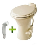 Dometic Sealand 310 Standard Height RV Toilet w/ Hand Spray, Bone
