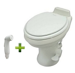 Dometic Sealand 320 Standard Height Ceramic RV Toilet w/Hand Spray, White