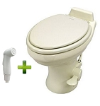 Dometic 320 Standard Height Ceramic Bone Toilet W/Hand Spray