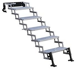 Entry Step 5 Manual Folding Steps: 22 Inch Length x 8 Inch Width and 7-1/2 Inch Rise 300 Pound Capacity Silver Aluminum Step