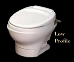 Thetford Aqua-Magic V Low Profile Without Water Saver Hand Flush Parchment RV Toilet