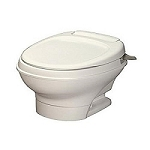 Thetford Aqua Magic V Low Profile Hand Flush Without Water Saver RV Toilet White