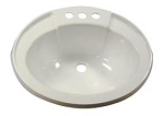 RV Sink Bowl, Lavatory, White, Plastic, 17