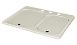 25X19X6 White Double Bowl Sink With Cover