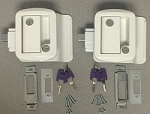 2 Pack White Travel Trailer Door Locks Keyed Alike