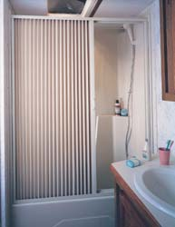 Folding Shower Door, White, 36