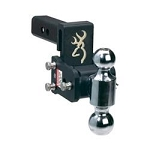 B&W Hitches Dual Ball- 2 Inch And 2-5/16 Inch; Black With Browning Logo Trailer Hitch Ball Mount