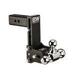 B&W Hitches Tri Ball-1-7/8 Inch And 2 Inch And 2-5/16 Inch Black Trailer Hitch Ball Mount