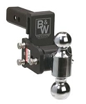 B&W Hitches Dual Ball With 2 Inch And 2-5/16 Inch Black Trailer Hitch Ball Mount