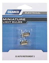 Camco 54711- Instrument Panel Light Bulb; 53 Auto Instrument; Package of 2