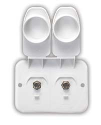 Cable TV Receptacle, Outdoor, Dual, Polar White