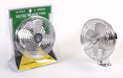 12 VOLT HEAVY DUTY 2-SPEED CHROME FAN WITH MOUNTING BASE